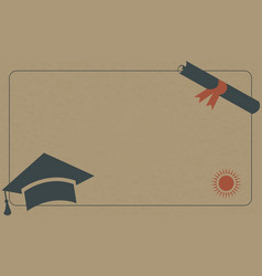 graduation diploma and cap on paper background vector image vector image