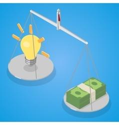 Idea and money balanced on libra vector image