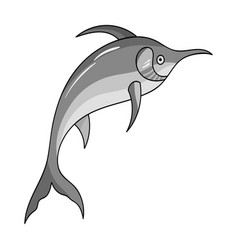marlin fish icon in monochrome style isolated on vector image