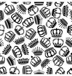 Seamless victorian royal crowns pattern background vector image