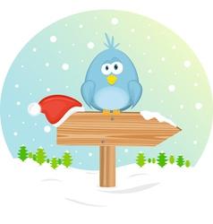 blue bird on the waymark vector image vector image