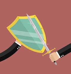 Businessman with shield protecting attact of enemy vector image vector image