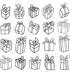 christmas or birthday gifts coloring page vector image vector image