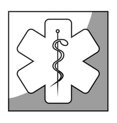 Grayscale square frame shading with health symbol vector