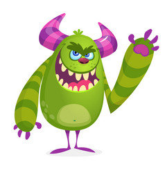 green angry cartoon monster vector image