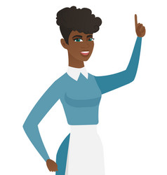young african cleaner pointing her forefinger up vector image vector image