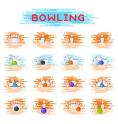 bowling kegling ball and skittles ninepins vector image vector image