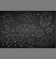 doodle weather set hand drawn elements vector image vector image