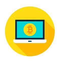 laptop bitcoin circle icon vector image vector image