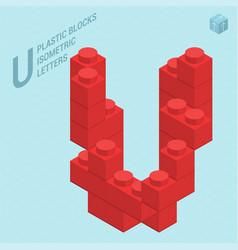 plastic blocs letter u vector image