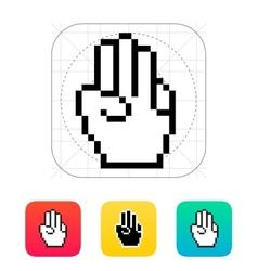 Three fingers Pixel hand cursor icon vector image