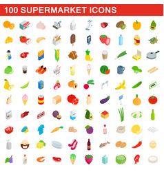 100 supermarket icons set isometric 3d style vector