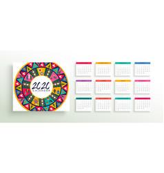 2020 abstract folk art calendar planner template vector image