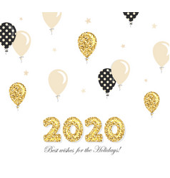 2020 new year and christmas template with gold vector image