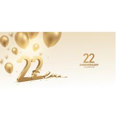 22nd anniversary celebration background vector image