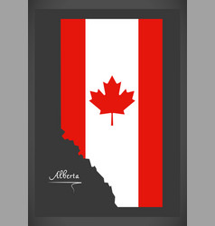 Alberta canada map with canadian national flag vector