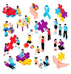 autism isometric set vector image