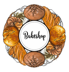bakeshop banner with colorful and line freshly vector image