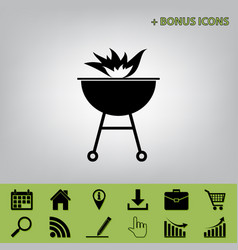Barbecue with fire sign black icon at vector