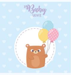 bashower teddy bear with balloons heart blue vector image