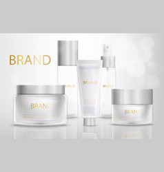 beauty products containers realistic set vector image