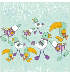 bird and numbers vector image