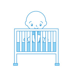 Boy and cot baby shower furniture infant symbol vector