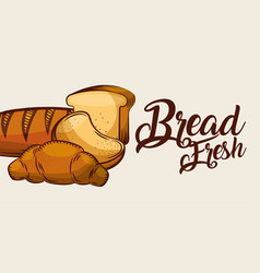 bread fresh whole croissant sliced banner vector image