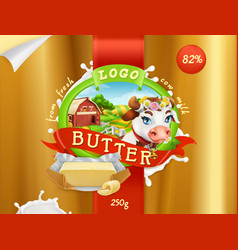 Butter milk farm 3d realistic package design vector