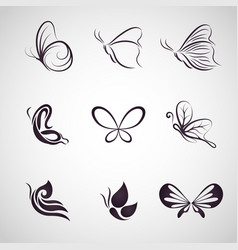 butterfly logo icon set vector image