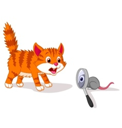 Cartoon Cat afraid of mouse with magnifying glass vector image
