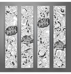 Cartoon cute doodles travel banners vector