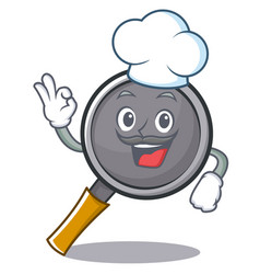 chef frying pan cartoon character vector image