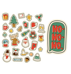 christmas greeting card stickers symbols vector image