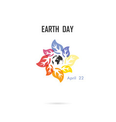 circle of colorful leaves icon and globe icon vector image