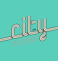 continuous line font retro style alphabet vector image