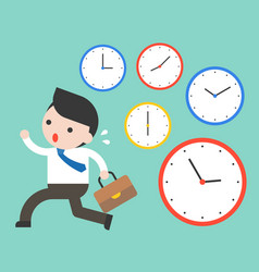 cute businessman running in rush hours and clocks vector image