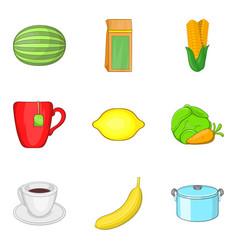 Dietary vegetable icons set cartoon style vector