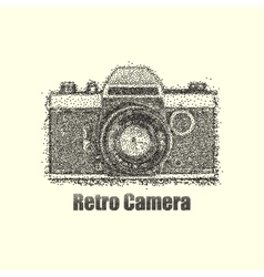 Dotwork old retro camera vector
