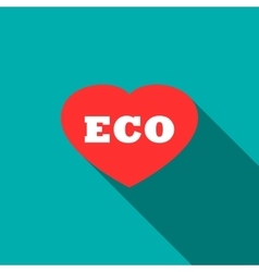 Eco friendly concept with heart icon flat style vector