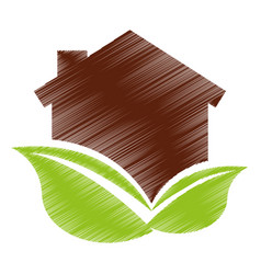 eco house with leafs isolated icon vector image