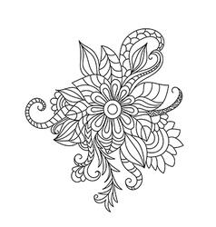 Entangle floral pattern hand drawn design element vector