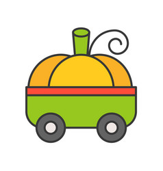fancy pumpkin car halloween related icon filled vector image