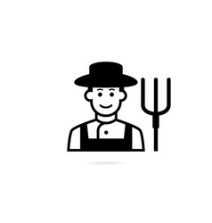 farmer with pitchfork in hand icon vector image