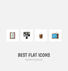 Flat icon life set of television questionnaire vector