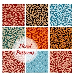 Floral decoration ornament seamless patterns set vector