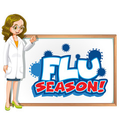 Font design for word flu season with doctor and vector