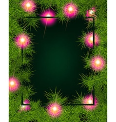 Frame of fir branches and lights red vector