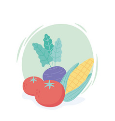 fresh cartoon organic vegetables corn tomatoes and vector image