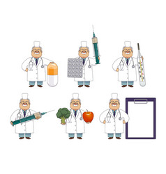 funny old man doctor with huge medical objects vector image
